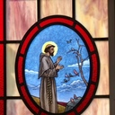 Detail of Church window featuring our parish patron, St. Francis of Assisi!